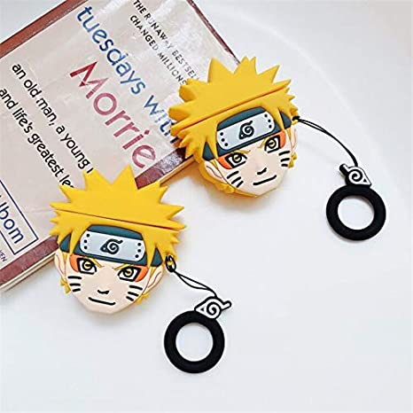 UR Sunshine AirPods Case Cool Cartoon Naruto Character Pein Shape Soft Silicone Case Cover Protective Skin for AirPods 1/&2+Hook