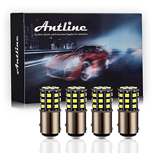 Antline 1157 2057 2357 7528 BAY15D LED Bulbs White, 12-24V Super Bright 1000 Lumens Replacement for Backup Reverse Lights, Tail Brake Lights, Turn Signal Lights (Pack of 4)