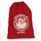 Personalised Reindeer Mail Vintage Santa Print Large Red Christmas Present Santa Sack Mail Post Bag