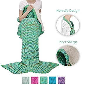 Adult Mermaid Tail Blanket, Super Soft Warm Crochet Mermaid Blanket with Sherpa Lined for Adult Teens Women, Anti-slip Neck Strap Design | Perfect for Women Girls Green