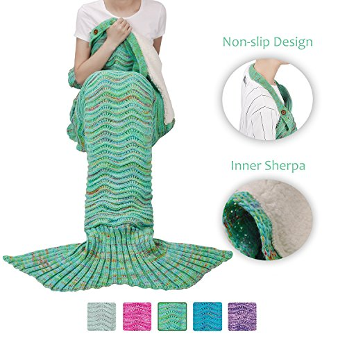 Adult Mermaid Tail Blanket, Super Soft Warm Crochet Mermaid Blanket with Sherpa Lined for Adult Teens Women, Anti-slip Neck Strap Design | Perfect for Women Girls Green ()