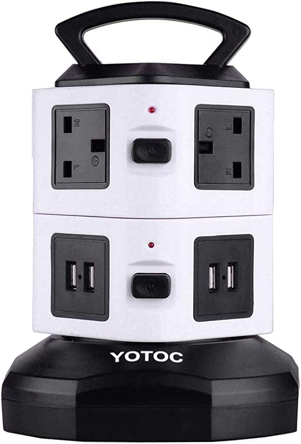 YOTOC Retractable 3m/9.8ft Multi Plug 6 Way Extension Lead Cable,Vertical Tower Power Strip Electric Sockets with 4 USB Ports Outlet Gang Switched Surge Protector UK Plug Extension Lead Black&White: Amazon.co.uk: DIY & Tools