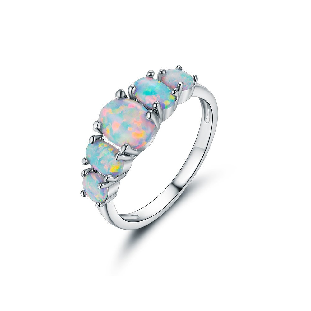 VOLUKA 18K White Gold Plated Opal Ring for Girl and Women (Prong-Setting 5pcs of Amazing Fire Opals) Size 6