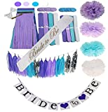 Bachelorette or Bridal Shower Party Decoration Bundle With Bride to Be Sash and Wall Banner-28 pieces(Purple)