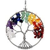 SUNYIK Tumbled Rainbow Color Stone Tree of Life Pendant 18KGP