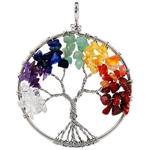 Tree Of Life Colors - SUNYIK Tumbled Rainbow Color Stone Tree of Life Pendant 18KGP