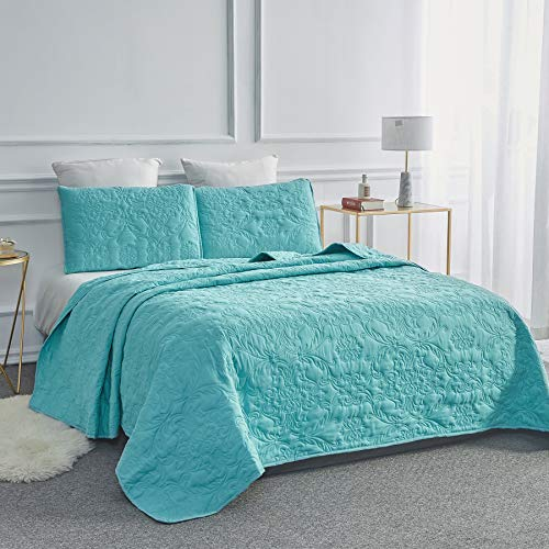 Sophia and William 3-Piece Quilt Set, King Size Bedspread Coverlet Set Lightweight, Hypoallergenic, Teal