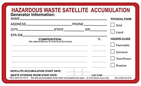 Amazon com: Hazardous Waste Satellite Accumulation Label - 3