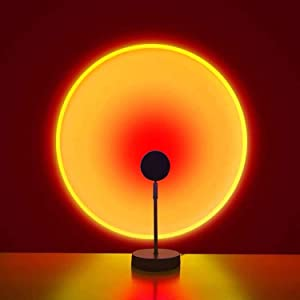 Sunset Lamp, Sunset Projection Lamp Sunset Light for Room Bedroom Decor, Sunset Projector Lamp Decoration for Home Party, Colorful LED Sun Lamp for Ins Photography, 180 Degree Rotation - Sunset Red