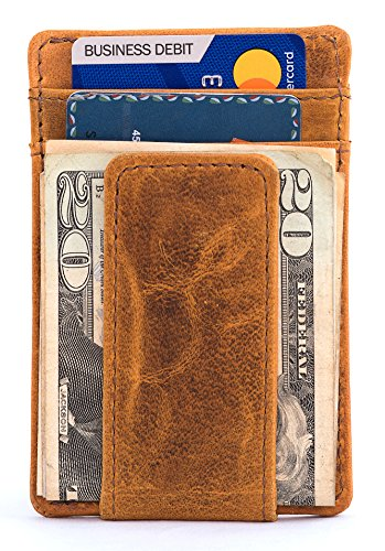 Buffalo Bills Credit Card - RAWHYD Genuine Leather Minimalist Wallet with Magnetic Money Clip - Made From 100% Top Grain Leather (Reddish Brown)