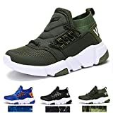 WETIKE Girls Sneakers Kids High Top Athletic Gym Shoes Lightweight Comfortable Tennis Shoes Slip on No Laces Trainers Shoes Soft Knit Youth Shoes Big Little Kids Size Green Size 1