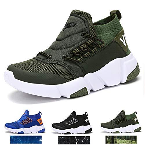 WETIKE Kids Shoes Boys Girls Sneakers Lightweight Sports Shoes Slip On Sock Shoes Running Walking School Casual Shoes Flyknit
