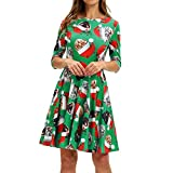 WOCACHI Final Clear Out Christmas Dresses Womens Knee Length Cat Evening Party Half Sleeve Dress Swing Santa Claus A Line Snow Bells Reindeer Xmas Prom Costume Maxi Mini (Green_a, Medium)