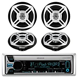 New Kenwood KMR-D765BT Bluetooth CD MP3 Marine Boat Yacht Bike AUX USB iPod Radio Player Stereo Receiver, 4 X Enrock 6.5\