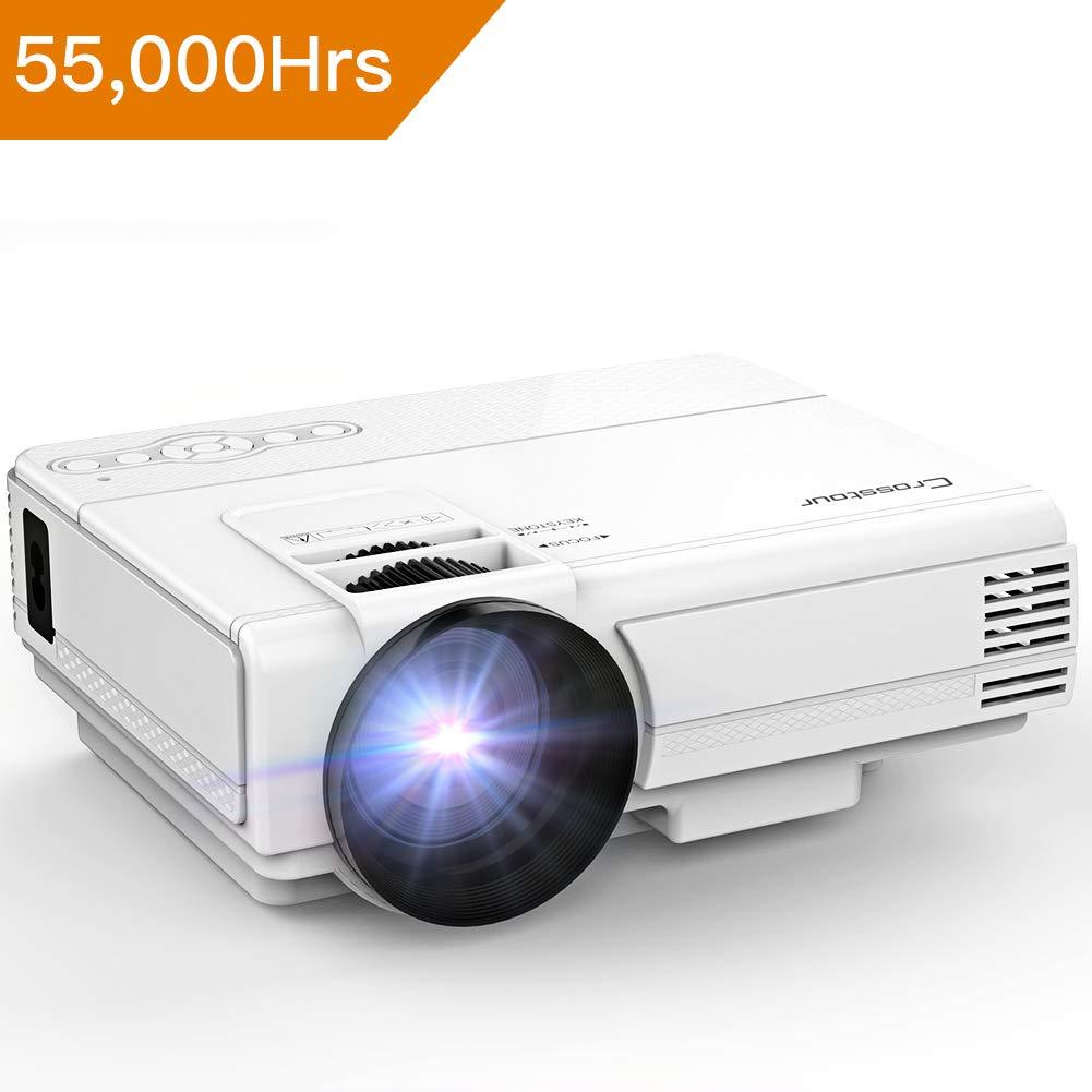 Mini Beamer, Crosstour LED Videoprojektor 1080P unterstü tzt, tragbarer HD-Projektor mit HDMI- und AV-Kabel, Arbeit mit TV Box /  Fire TV-Stick / PC / PS4 / HDMI / VGA / TF / USB / Smartphones