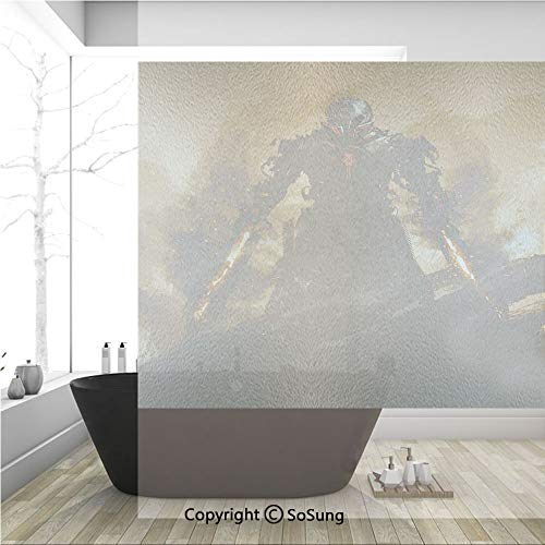 - 3D Decorative Privacy Window Films,Robot Warrior Terminator at War Fire Sword Weapon Paint Style Futuristic,No-Glue Self Static Cling Glass Film for Home Bedroom Bathroom Kitchen Office 36x36 Inch
