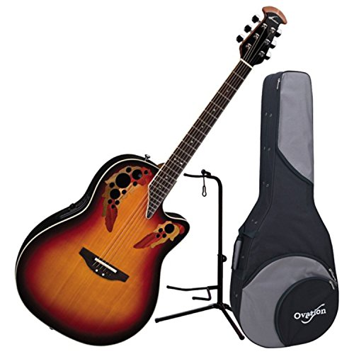 Burst Guitar England - Ovation 2778AX-NEB Standard Elite Acoustic Electric Guitar (New England Burst) w/Stand and Ovation Case