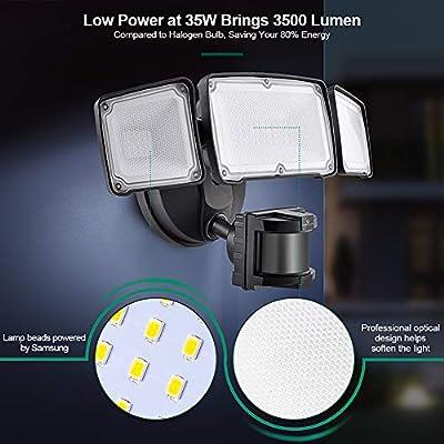 3500LM LED Security Lights, 35W Motion Sensor Light Outdoor, AC Power, GLORIOUS-LITE Super Bright 3Head Motion Security Light, 5500K IP65 Waterproof, ETL Certified Exterior Flood Light for Garage Yard