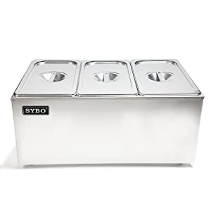 SYBO ZCK165A-3 Commercial Grade Stainless Steel Bain Marie Buffet Food Warmer Steam Table for Catering and Restaurants, ((3 Sections)
