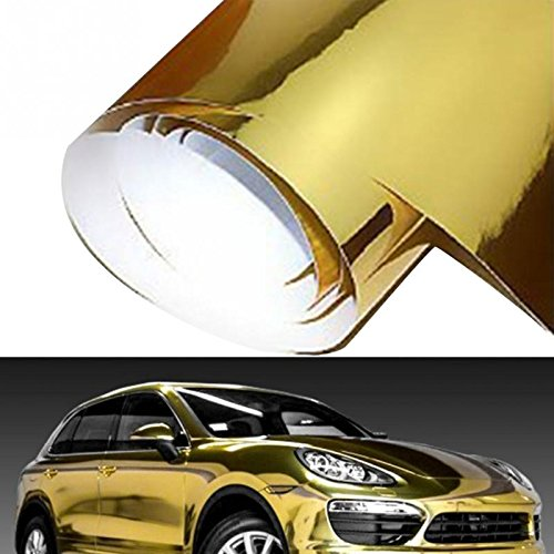 Golden Wrap (DIYAH Gloss Chrome Mirror Vinyl Car Wrap Sticker with Air Release Bubble Free anti-wrinkle 12
