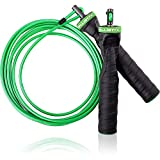 Ballistyx Jump Rope With Adjustable Speed Cable & Contoured Ball Bearing Handles - Best For Exercising, Boxing & MMA, Home Fitness & Sports Training (GREEN)