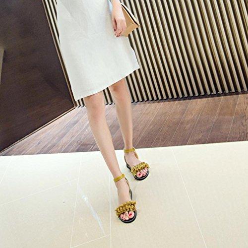 Flor Chanclas Verano Zapatillas Ladera WINWINTOM Mujer y 2018 Estar Sandalias Aldaba por Puro Punta Tac de Casa Color Moda redonda qfC6wFx