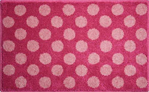 Polka Dots Pink Rug (Grund Designer Series Accent/Bath Rug, Polka Dots, 21-Inch by 34-Inch, Pink)