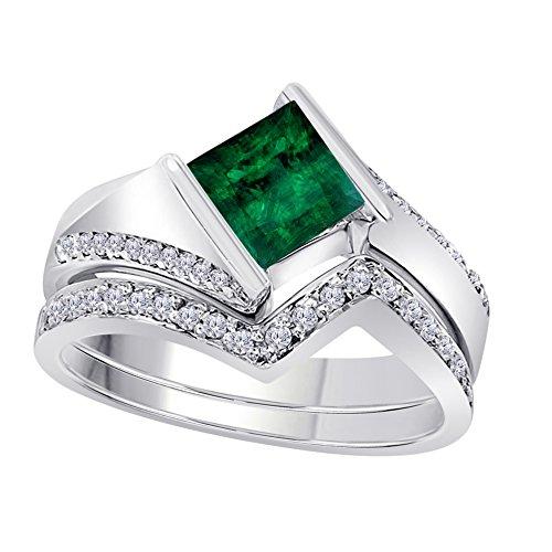 1.50 Ct Princess & Round Cut Green Emerald & White CZ Diamond 14k White Gold Plated Bezel Set Wedding Engagement Ring Bridal Set