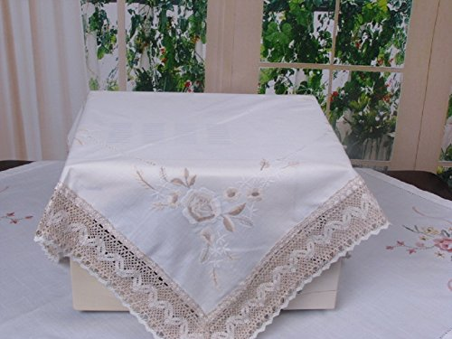 White Birch White Cloth Lace Tablecloths Emboidered for Home Wedding Party Square for Round Table and Rectangle for Rectangle Table (24x24 inch(60x60 cm) Small Table Cloth) Birch Set Coffee Table
