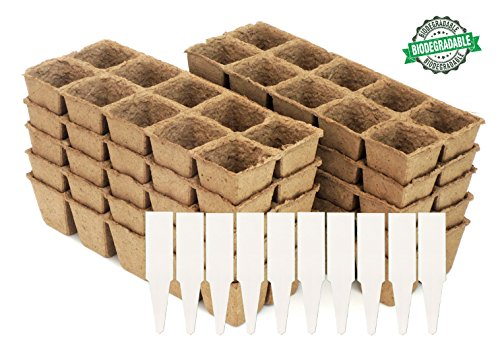 Peat Pot Seedling Starter Trays | Seed Germination Kit - Organic Biodegradable Pots 100% Eco-Friendly Enhance Aeration | BONUS 10 Plastic Plant Markers - 100 Cell Pack