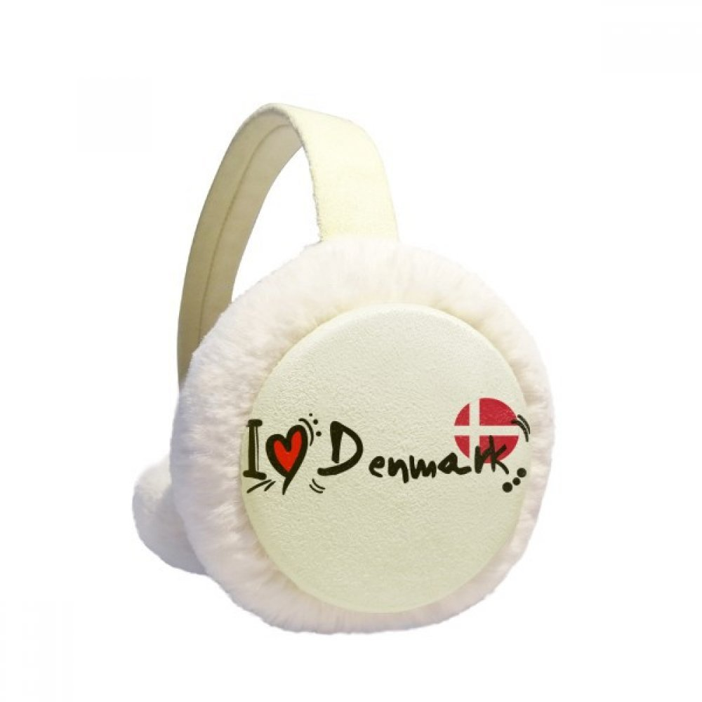 I Love Denmark Word Flag Love Heart Illustration Winter Earmuffs Ear Warmers Faux Fur Foldable Plush Outdoor Gift