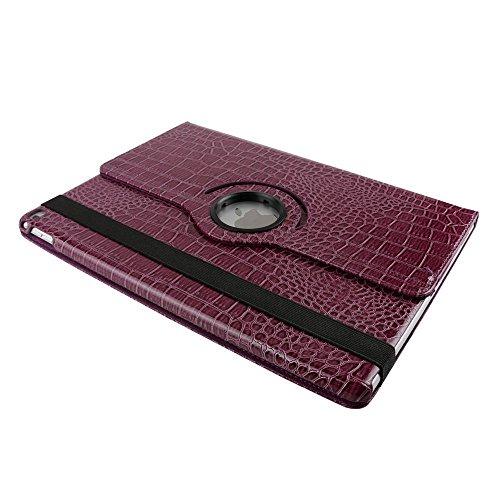iPad Air 2 Estuche de Cuero para Negocios,elecfan ® SmartCase Sueño para iPad Air 2 / 360 Grados de Cuero Caso del Protector de Pantalla Soporte de la Cubierta (iPad Air 2, Negro) Púrpura