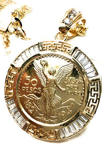 Fran & Co. Gold Plated Coin Centenario Mexicano Moneda 50 Pesos Pendant Chain CZ Oro Cadena 26