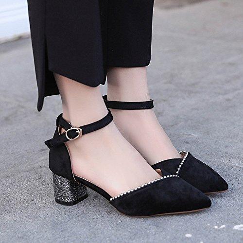 Negro de Hembra Corte Zapatos Zapatos con Huecos de Mujer la Qiqi 37 Hebilla Zapatos Puntiaguda Gruesa Baotou Xue con FAZUqwXxI