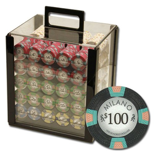 Claysmith Gaming 1,000 Ct Milano Set - 10g Casino Clay Chips with Acrylic Display Case for Casino Games