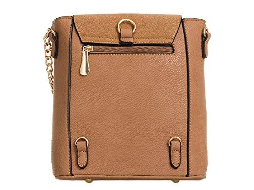 Ladies Zipped Mix Suede Leather Bag Backpack Shoulder Faux KT897 Black Women's Faux Handbag rrqBwfSZ