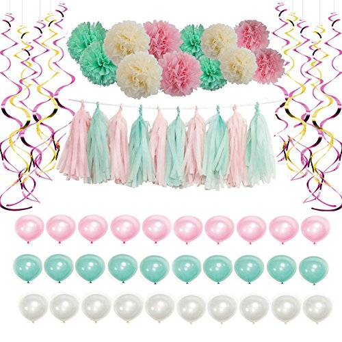 Party Decoration Kit Set Pink Mint Party Supplies Balloon with Tissue Paper Pom Poms Flowers for Theme Wedding Shower Event Home Outdoor Decor 62PCS for Girls Boys (Girl Theme)