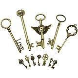 PsmGoodsVintage Skeleton Antique Keys Charm DIY Padlock Old Style Look Bronze 12Pack by PsmGoods