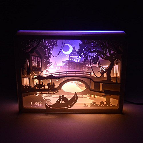 D LED Night Light for Adult Kids Baby Nursery,Decorative Lamp in Bedroom,with USB Cable and Adapter (Love In Venice) (Lights Framed Box)