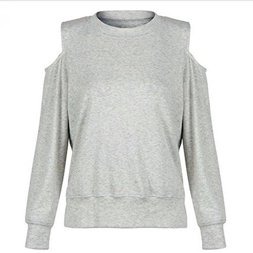 SKY Mujeres camisa de manga larga sin tirantes gris top O cuello informal blusa O Neck Casual Blouse Gris