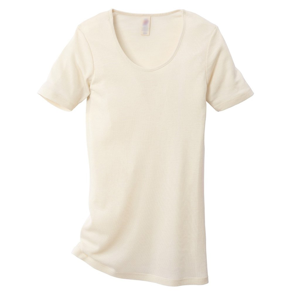 EcoAble Apparel Women's Thermal Tee Shirt for Layering, 70% Organic Merino Wool 30% Silk (34-36 / Extra Small, Natural)