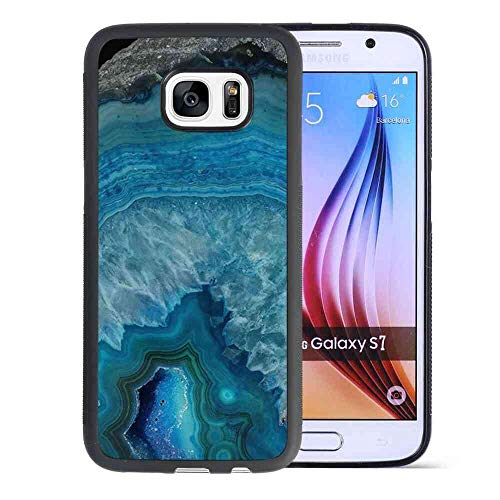Case Fit Galaxy S7 (2016) [5.1in] Blue Geode Gemstone Blue Marble Rock Formation Stone Agate
