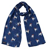 Jack Russel Terrier Dog Print Ladies Fashion Scarf (Navy)