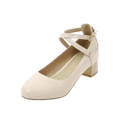 Damen Weiches Material Rund Zehe Hoher Absatz Schnalle Rein Pumps Schuhe, Weiß, 37 AgooLar