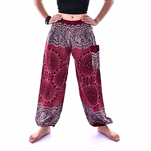 (SSYUNO Men Women Boho Yoga Harem Pants Hippie Indian Gypsy Loose Peacock Print Beach Pants)