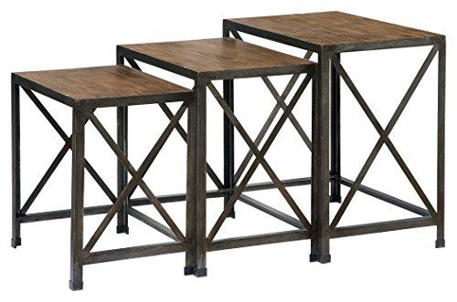 Ashley Furniture Signature Design - Vennilux Nesting End Tables - 3 Piece Table Set - Gray Brown Finish - 3 Piece Set Accent Table