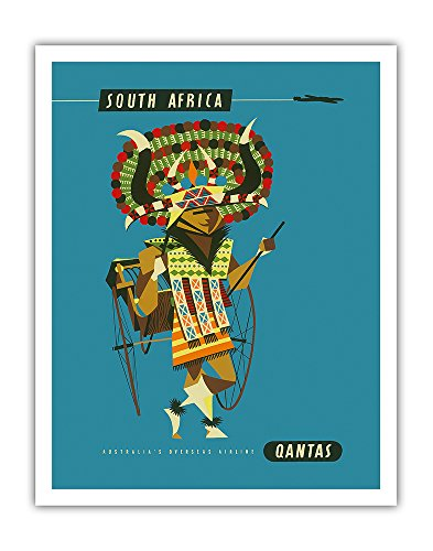 Pacifica Island Art South Africa - African Native Costumed Dancer - Qantas Empire Airways (QEA) - Vintage Airline Travel Poster by Harry Rogers c.1960s - Fine Art Print - 11in x 14in