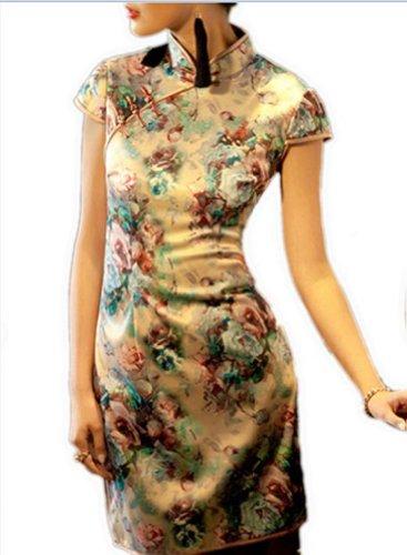 Asiatische Chinesisch 128 FREIE Chic Grau Erlesenes Qipao Cheongsam Cocktailkleid Mode Kleid FRACHT 47xwaXq7r