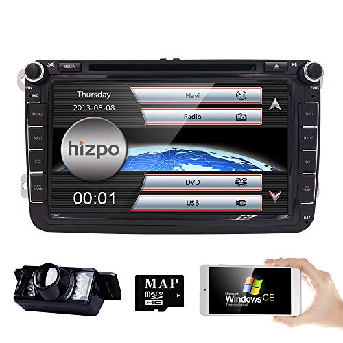 - hizpo In Dash HD 8 Inch Double 2 Din Car Stereo GPS Navi DVD Player for VW Golf Polo Passat Tiguan Jetta EOS+US Map+Camera Capacitive Screen