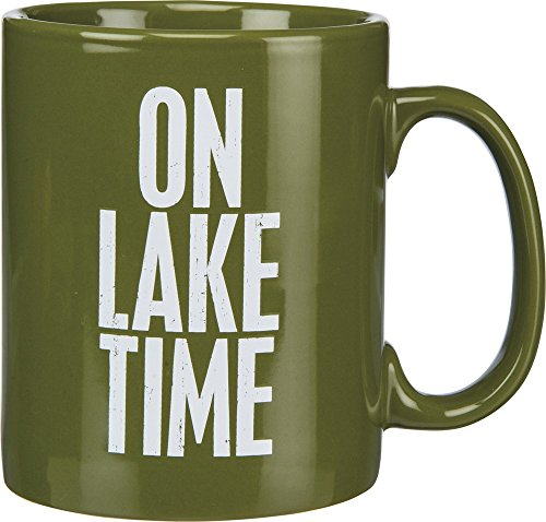 Primitives By Kathy 21675 Green Stoneware Coffee Mug, 20-Ounce, On Lake (Lake Coffee Mug)